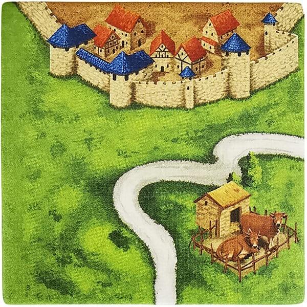 Carcassonne Plättchen J 3 / 3 mit Kuhstall