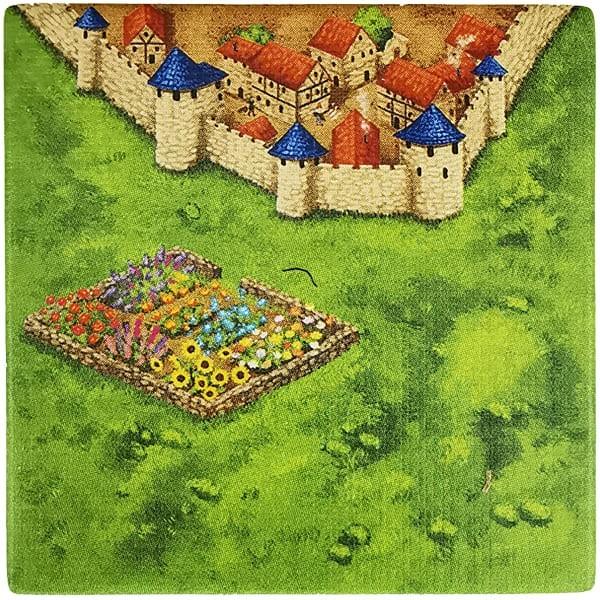Carcassonne Plättchen E 3 / 4 mit Garten