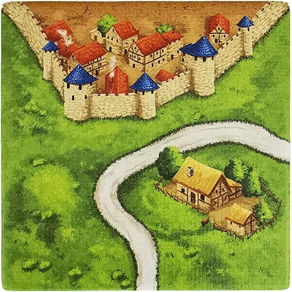 Carcassonne Plättchen J 2 / 3 mit Bauernhof