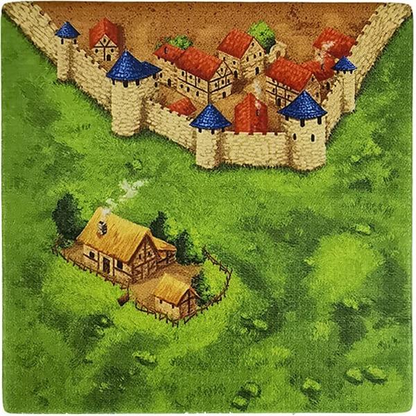 Carcassonne Plättchen E 4 / 4 mit Bauernhof
