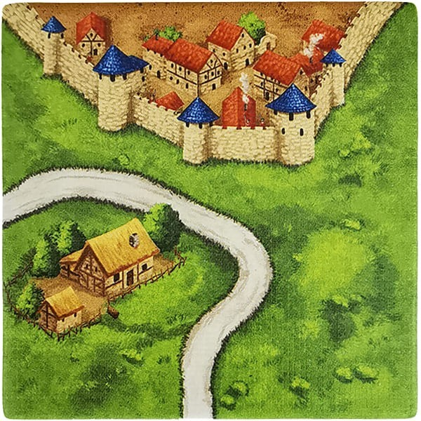 Carcassonne Plättchen K 2 / 3 mit Bauernhof