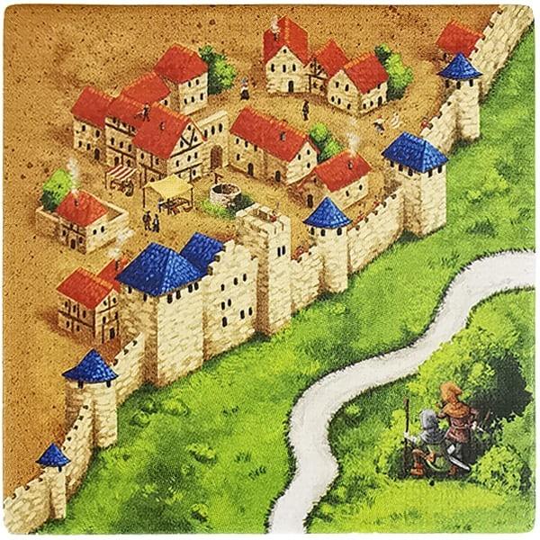 Carcassonne Plättchen P 2 / 3 mit Wegelagerer