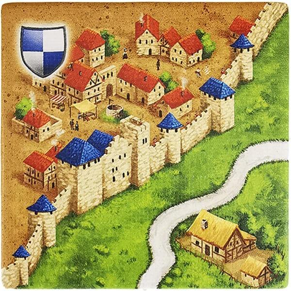 Carcassonne Plättchen O 1 / 2 mit Bauernhof
